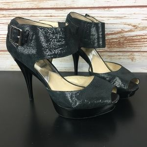 Michael Kors MMK Leather Ankle Strap Heels